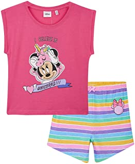 Disney Pijama Niña Corto, Minnie Mouse Pijamas Niña, Ropa Niña Algodon 100%, Pijama Unicornio Niña, Regalos para Niñas y A...
