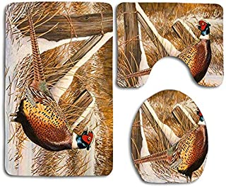 KRWHTS Ring Necked Pheasant Cute Soft Comfort Bathroom Mats Anti-Skid Absorbent Toilet Seat Cover Bath Mat Lid Cover 3 PCS Set