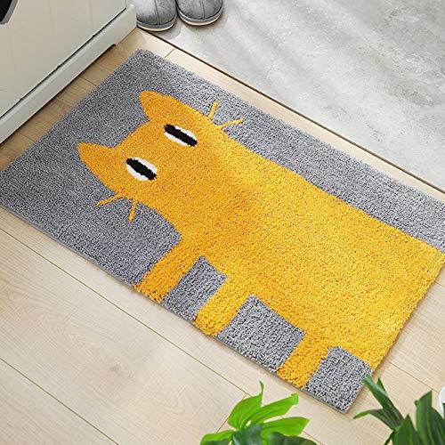 YLCCC Alfombra Jacquard, Antideslizante Patrón Gato Dibujos Animados Microfibra Carpets Baño Dormitorio Cocina Pasillo Oficina Puerta Entrada Almohadilla,Amarillo,50x80