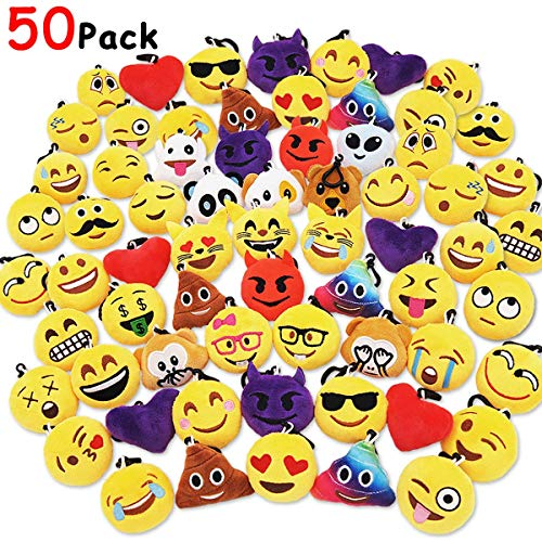 Ivenf Pack of 50 5cm/2' Emoji Poop Plush Keychain Birthday Party Favors Supplies Mini Pillows Set, Emoticon Backpack Clips, Goodie Bag Stuffers Pinata Fillers Novelty Gifts Toys Prizes for Kids