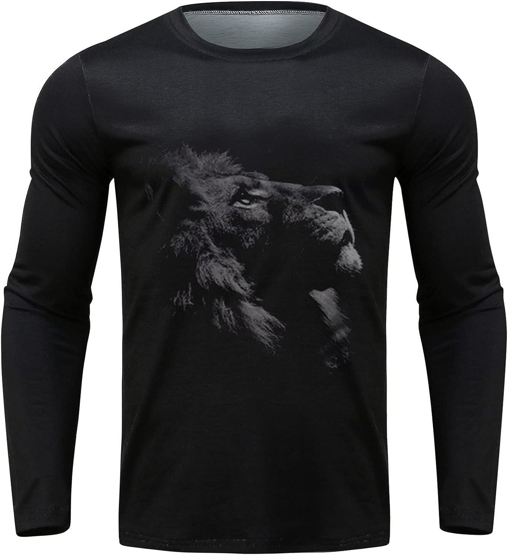 XXBR Tops for Mens, Halloween Fall 3D Skull Tiger Lion Printed Crewneck Basic T-shirts Casual Sweatshirt Athletic Tees