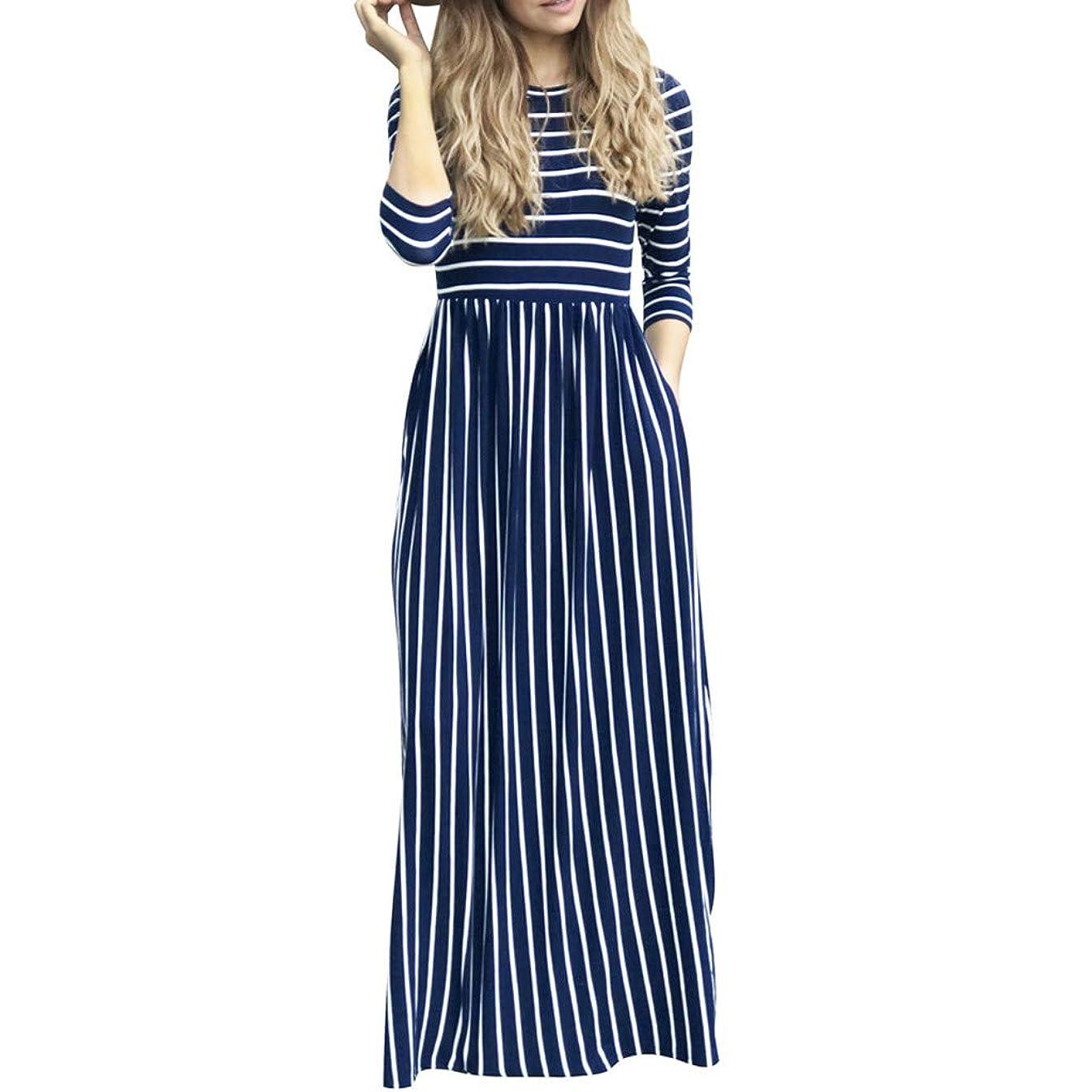 DondPO Women Boho Long Dresses Sleeve Loose Crew Neck Plain Maxi Dresses Casual with Pockets