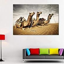 Lcgbw Decoratief schilderij Kamelen in Woestijn Muur Art Prints Dierlijke Schilderij voor Woonkamer Canvas Print Landschap...