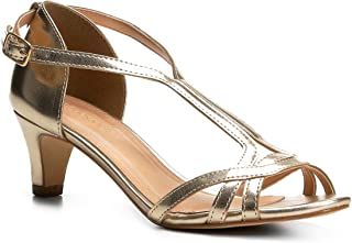 Sandália Shoestock Salto Cone Metalizada