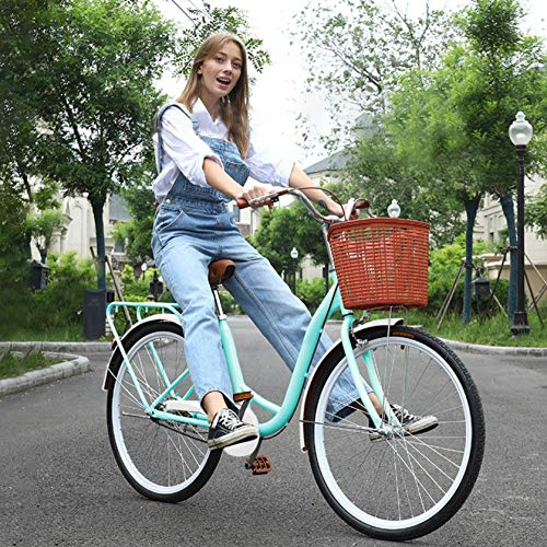 26 Inch Retro Women's Bike, Classic Cruiser Bicycle with Basket, Vintage Bike Lifestyle Cruiser Bike with Wear Resistant Tires and Soft Saddle, for Adults Young People Student