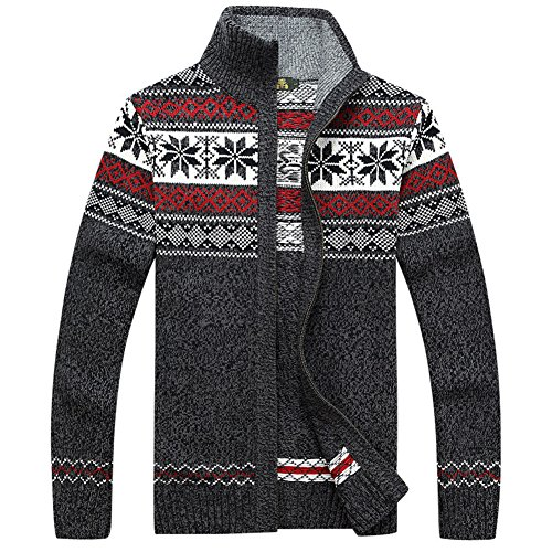 Casual Men's Thick Knitted Zipper Cardigan Sweater with Pattern (Medium, Gray)