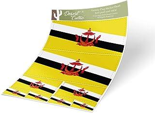 沙漠仙人掌 Brunei 乡村国旗 贴纸 多尺寸套装 8 件 儿童徽标 剪贴簿 汽车 乙烯基 车窗 保险杠笔记本电脑