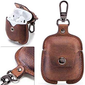 Airpods Case Leather Airpods Case Cover Genuine Leather for Apple Airpods 1 & 2