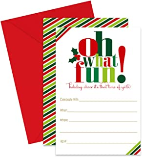 Oh Fun Christmas Party Invitation with Red Envelopes (Pack of 15) Fill-in Invites for Holiday Parties, Cocktail Dinner, Jingle and Mingle, Festive Celebrations