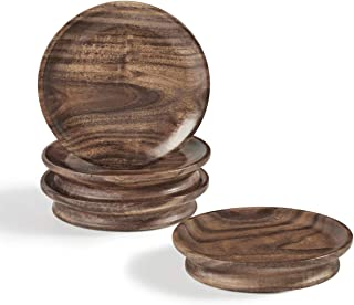 Wooden Coasters for Drinks, Drink Coasters for Glasses and Mugs, Acacia Wood Coasters with Felt Pads for Coffee Table Decor, Set of 4 (Coasters02)