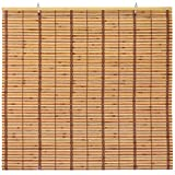 ORIENTAL Furniture Burnt Bamboo Cordless Window Shade - Two-Tone Honey 60' W