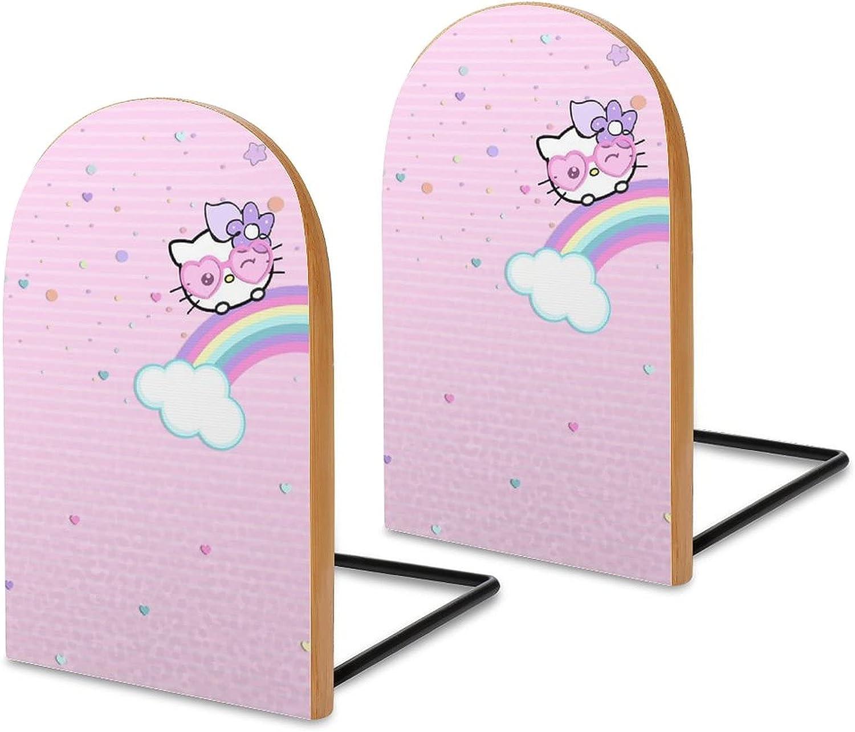 KRISMARIO Hello Kitty Rainbow 2pcs Heavy Wood Logs Bookends Mode