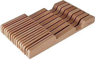 hecef Support à couteaux en bois de hêtre, organisateur de tiroir et support, gain de place pour la cuisine à la maison, 1...