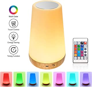 Table Lamp -Touch Sensor LED Warm White Night Light with 13 Color Changing, 5 Level Dimmable USB Rechargeable Dimmable Bedside Lamps for Kids Bedroom Office