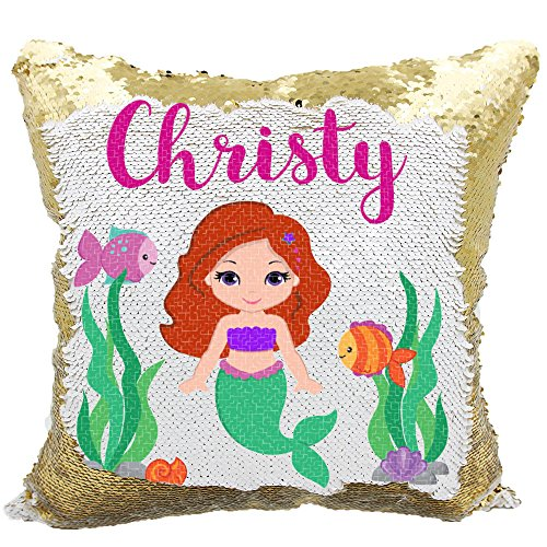 Personalized Mermaid Reversible Sequin Pillow, Custom Mermaid Underwater Scene Sequin Pillow (White/Gold)