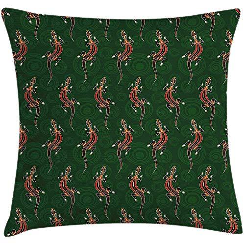QDAS kussenhoes, kleurrijk, Australische dieren, cirkels, decoratief, vierkant, smaragd, donker