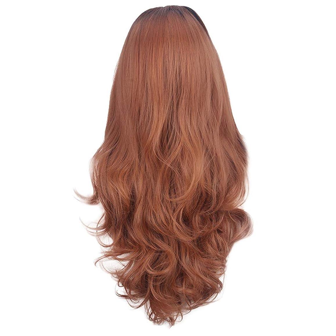酸素基準魅了する茶色の女性のかつらの長い巻き毛のフロントレースかつら80CM