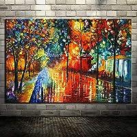 ZSKFS 大手描き恋人雨ストリートツリーランプ景観オイルはキャンバスの壁のアートウォールの写真のためにリビングルームのホームインテリアにペイント (色 : HY142213, Size (Inch) : 100x180cm(40x72inch))