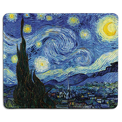 dealzEpic - Art Mousepad - Natural Rubber Mouse Pad with Famous Painting of Starry Night by Vincent Van Gogh - Stitched Edges - 9.5x7.9 inches