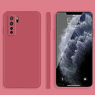 携帯電話保護ケース for Huawei Nova 7 SEソリッドカラー模造液シリコーンストレートエッジ落下防止全被覆保護ケース