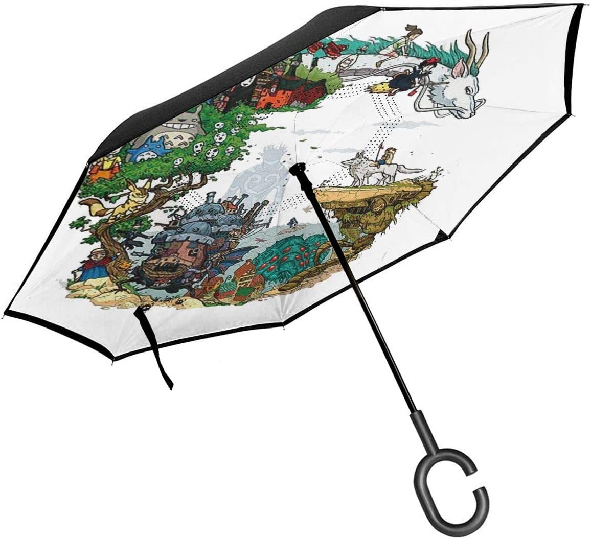 Car Reverse Folding Umbrella Windproof UV Protection with C-Shaped Handle Inverted Umbrella with Psychedelic Cat Aesthetic Hipster Print