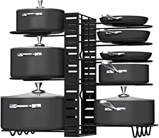 Pot Rack Organizers,8 Tiers Pots and Pans Organizer, Adjustable Pot Lid Holders & Pan Rack for Kitchen Counter and Cabine...