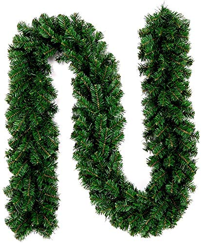 INTERGREAT Christmas Garland Decorations 8.9 ft Unlit Christmas Garlands Artificial Pine Garland Christmas Wreath Mantle Decoration for Outdoor Indoor Non-Lit Green