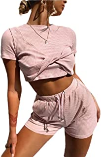 desolateness Women's 2 Piece Shorts Tracksuit Sexy Outfits Crop Top Shorts Set