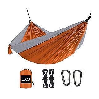 Hamac Extérieur Camping Récréatif Voyage Anti - Renversement 260*140 Orange + Gris