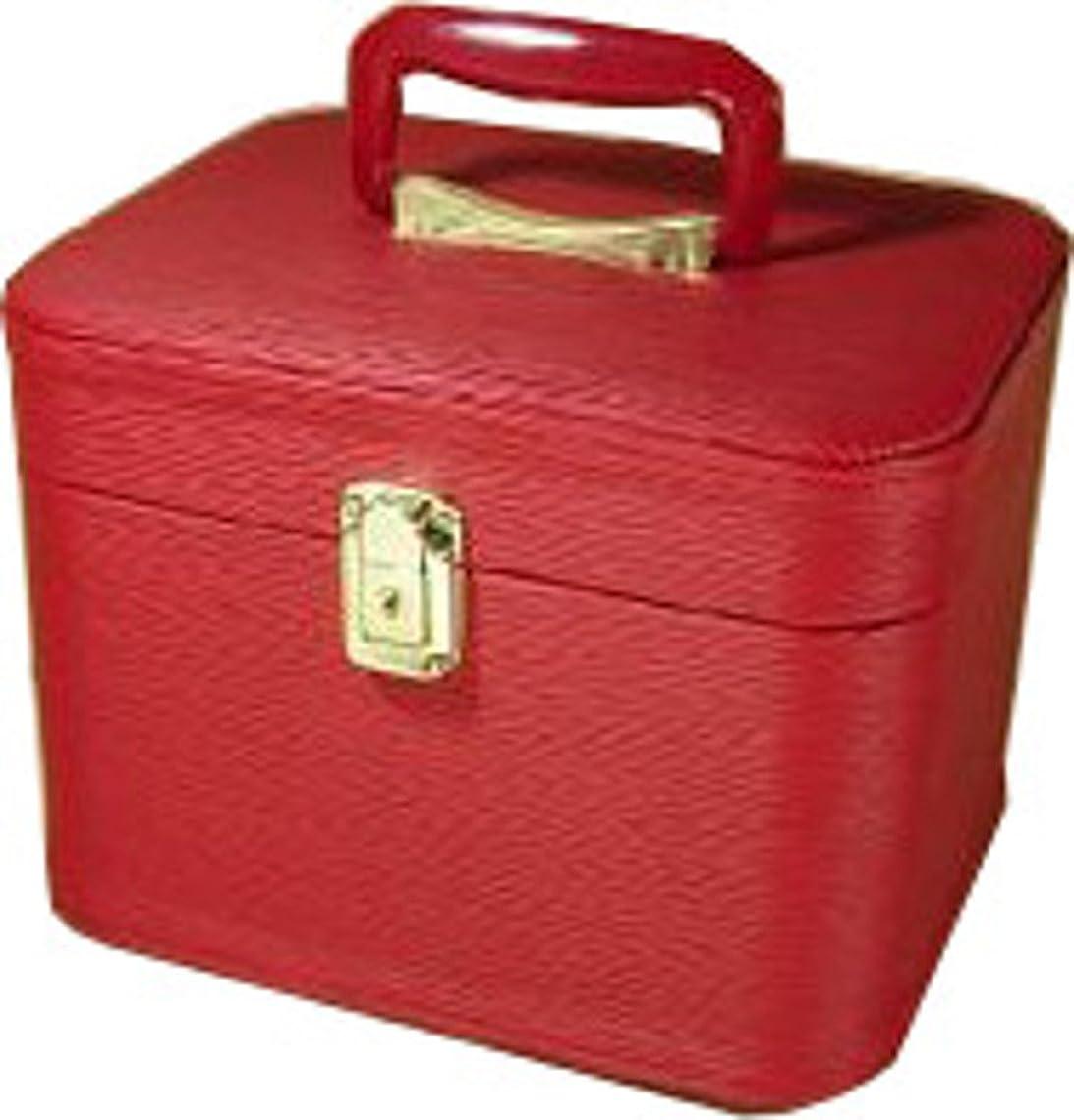 骨旅クローゼット水シボ26cmヨコレッドお化粧入れ メイクボックス,メイクケース,トレンチケース,化粧箱