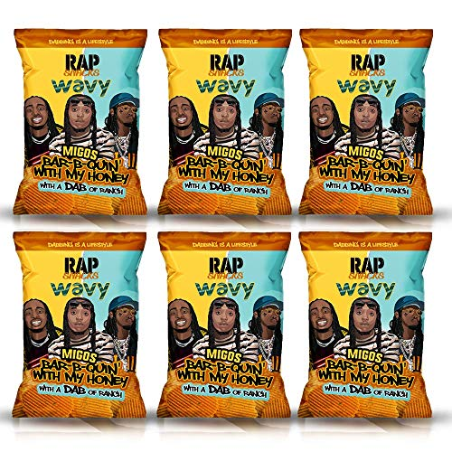 Rap Snacks Featuring Hip-Hop Stars (Pack of 6) (Migos Bar-B-Quin' with My Honey with a Dab of Ranch Wavy Potato Chips)