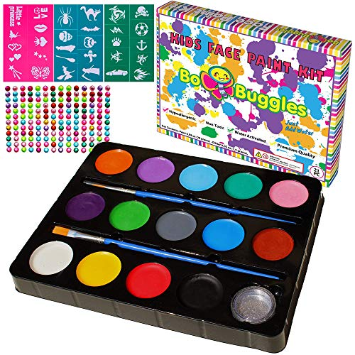 Bo Buggles Face Paint Kit for Kids with 30 Stencils, Professional Quality Paints + Glitter; 2 Brushes, Kid-Safe, Non-Toxic Face Painting Palette