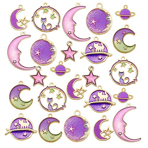 24 Pcs Assorted Gold Plated Enamel Cat Moon Star Celestial Charm Pendant DIY for Earrings Necklace Bracelet Jewelry Making and Crafting (M582-Purple)