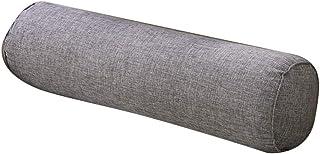 Jubang - Almohada cervical, cojín cilíndrico, cojín para cama, sofá, coche, cuello y pierna, soporte para almohada de viaje, 40 x 15 cm, color gris