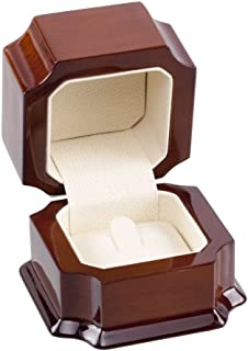Jewelry Ring Box Mahogany Wood w/Off White Leather Interior