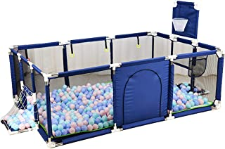 Gaorui Large Kids Baby Ball Pit - Portable Indoor Outdoor Baby Playpen Toddlers Children Safety Play Yard Fun Activities Popular Toys (Not Includes Balls) (Blue)