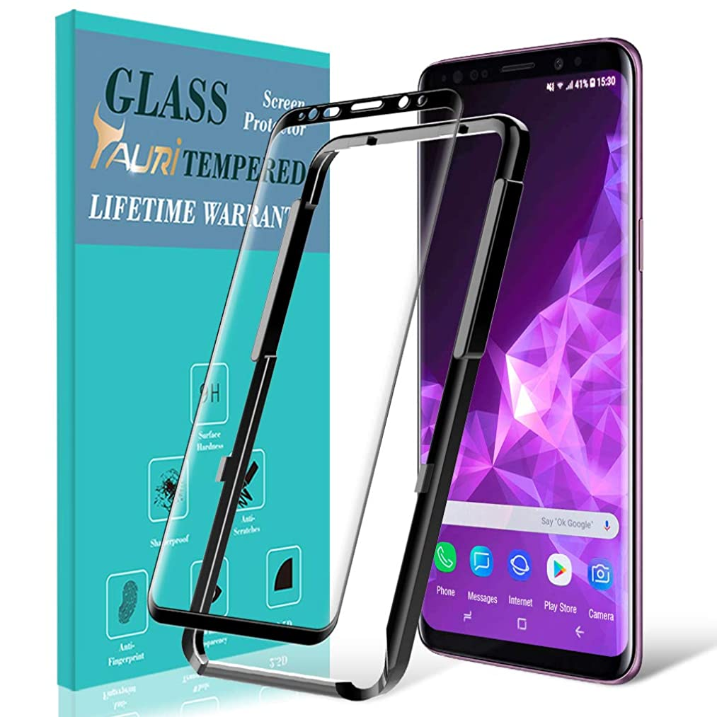 TAURI Screen Protector for Samsung Galaxy S9, [Alignment Frame] [Case Friendly] Tempered Glass Screen Protector with Lifetime Replacement Warranty - Black
