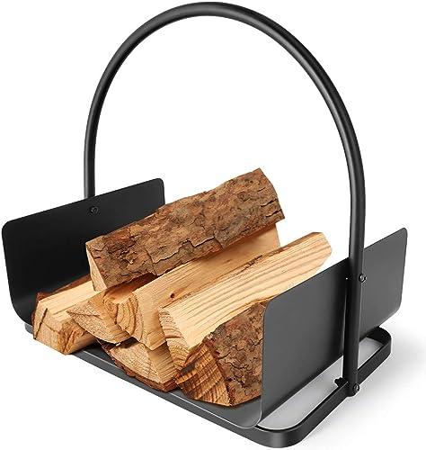 Amagabeli Panier à bûches 45 x 30 x 43cm Porte-bûches de cheminée panier bois de chauffage panier porte buche chemine...