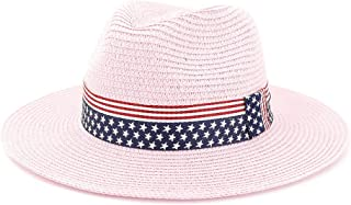 Summer Paper Straw Wide Brim Sun Hats Men Women British Style Jazz Fedora Beach Hat Cowboy Sunhat with US Flag Ribbon` TuanTuan (Color : Pink, Size : 56-58CM)