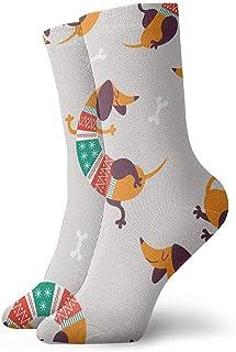 iuitt7rtree Perros de dibujos animados Dachshund en calcetines de atletismo casuales de rayas