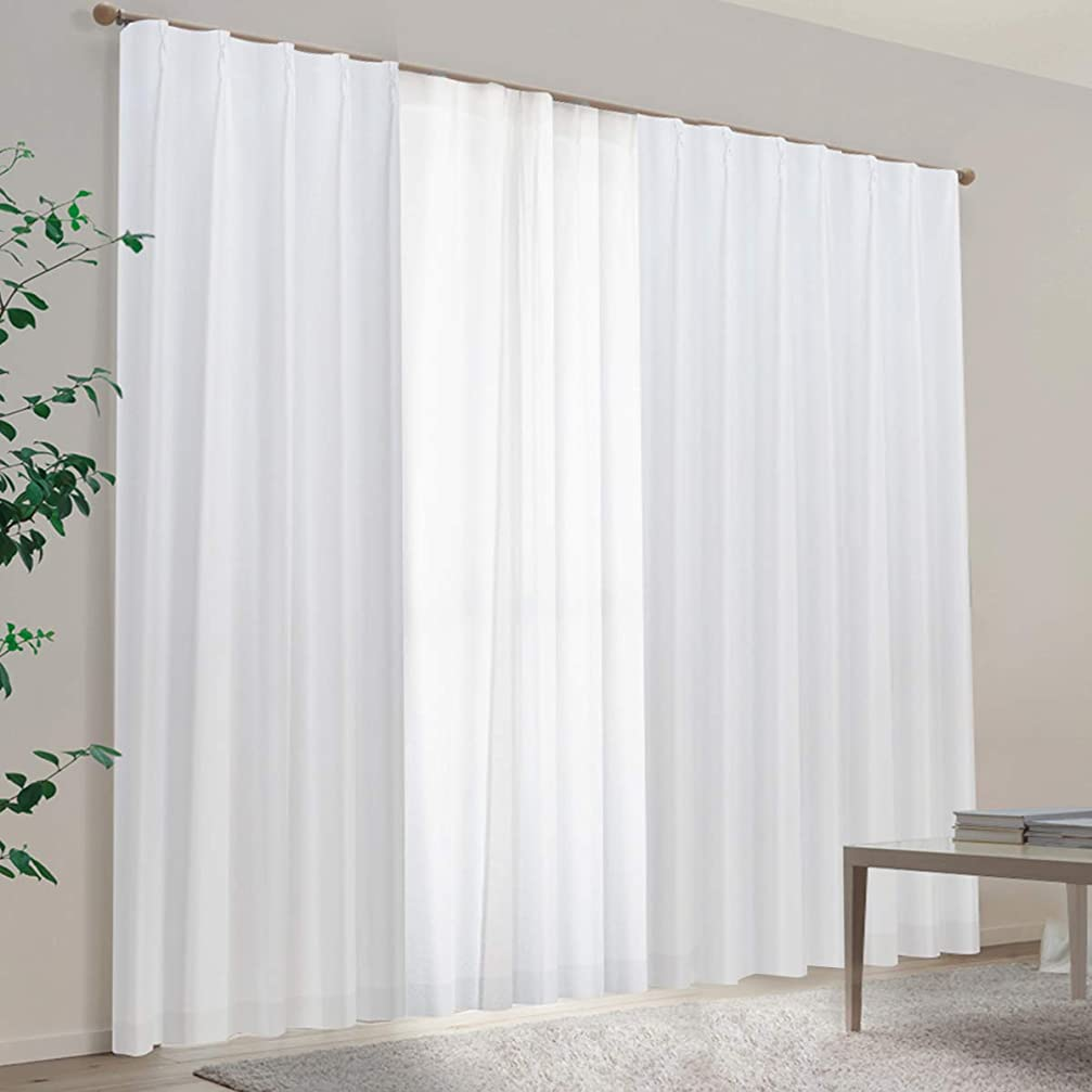 メンタル白菜趣味[カーテンくれない] 真っ白遮光カーテン×真っ白ミラーレースカーテンの4枚セット 140サイズから選べてお部屋が簡単に【シンプルモダン】へ 白色 真っ白 ホワイト 遮光 防炎カーテン「SHIROセット」 色:ホワイト サイズ:(幅)100×(丈)195cm×4枚組 (カーテン2枚+レース2枚) レース:ホワイト/丈:厚地より-2cm / Aフック