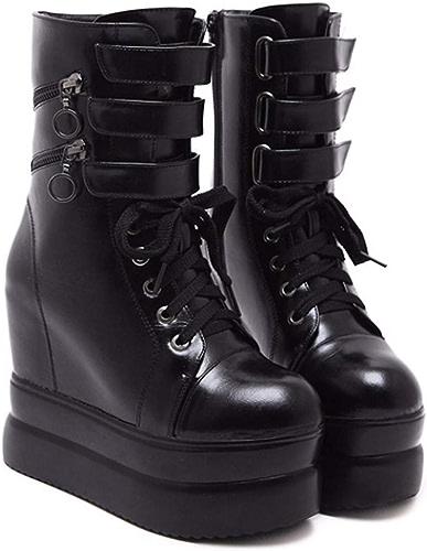 HBDLH Chaussures pour Femmes Les Bottes De Pente Moyenne avec Talon Haut 12Cm Cravate des Bottes Hautes épais Bas Muffin Augmenté à L'Intérieur Martin Bottes Bottes en Cuir.