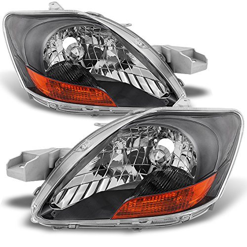 For Toyota Yaris 4 Doors Sedan Chrome Headlights Driver Left + Passenger Right Side Replacement Pair