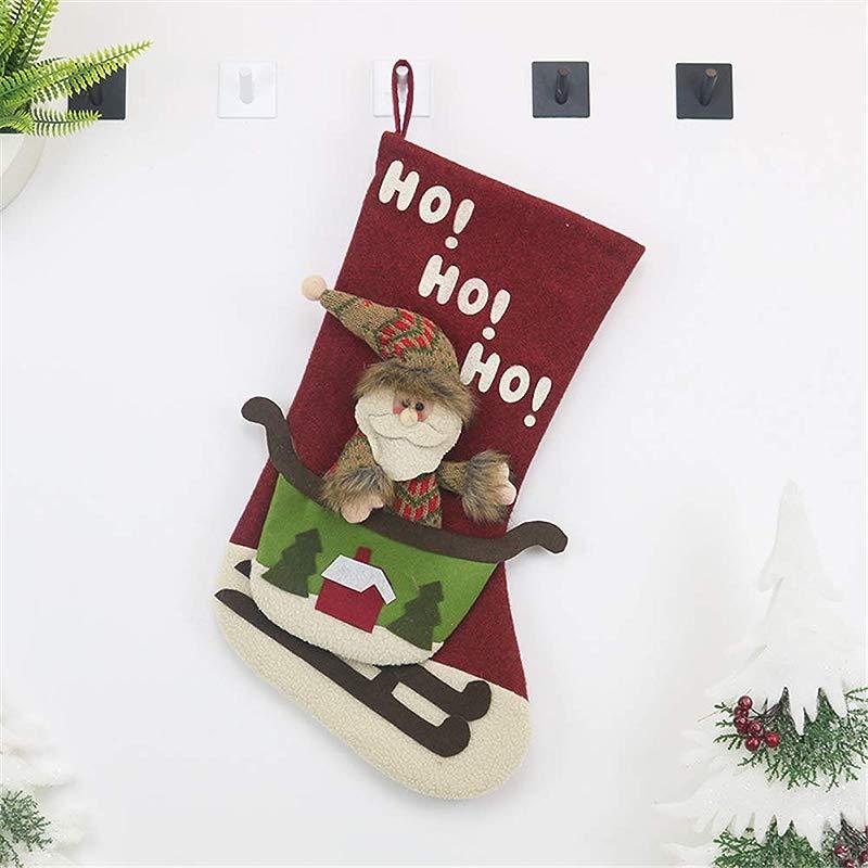 FLOGZONE Christmas Decorations Santa Claus Pendant Christmas Socks Gift Bags Christmas Tree Ornaments Charm Candy Bags Christmas Supplies