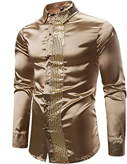 Tralounry Mens Casual Long-Sleeve Stylish Gilded Slim Fit Turn Down Collar Shirt