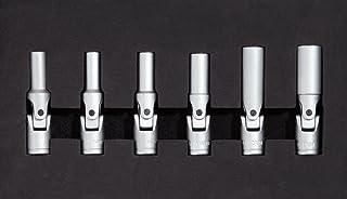 KS Tools 500.7300 Pack de 6 piezas con llaves de vaso articuladas para bujías (tamaño