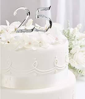 Simplicity Silver 25th Anniversary Cake Topper, 1pc, 5''W x 9''H