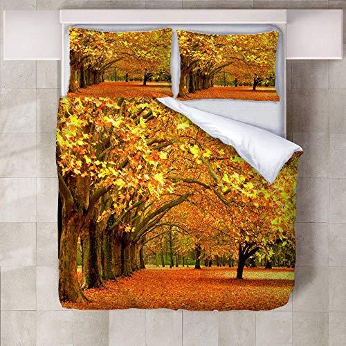BBQTABZ Bettwäsche Herbstliche Wälder 100% Angenehme Mikrofaser Schlafkomfort - 1 Bettbezüge + 2 Kissenbezüge 200X230Cm