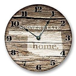 OKLAHOMA STATE HOMELAND CLOCK -SOONER STATE - Large 10.5 Wall Clock - Printed Wood Image- OK_FT