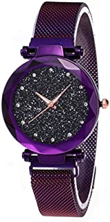 Women's Watches with Black Sandstone Dial for Lady Watch, Trendy Waterproof Starry Sky Lady Watch, Purple